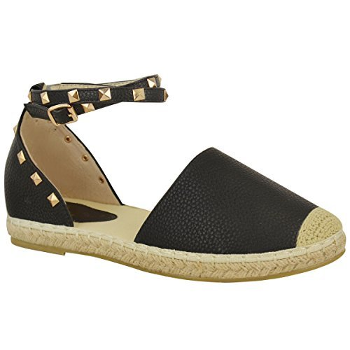 Damen Espadrille-Sandalen mit Knöchelriemen & Nieten - flache Sommerschuhe - Schwarz Kunstleder - EUR 39 (Schwarze Espadrilles)