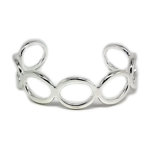 Silver 7 Link Circle Fashion Bangle