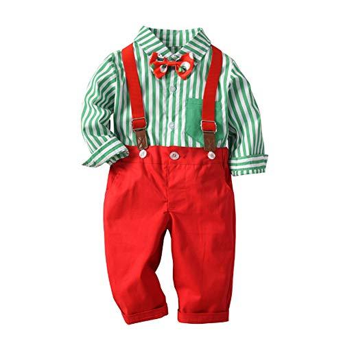 16920044b0e5f ZOEREA 2Pcs Bébé Garçon Ensemble de Costume Chemise à Rayures Rouges +  Pantalon pour Mariage Baptême
