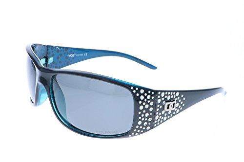 VOX Frauen polarisierte Sonnenbrille Designermode Brillen kostenlos aus Mikrofaser Beutel - Schwarzen & blau Frame - getöntes