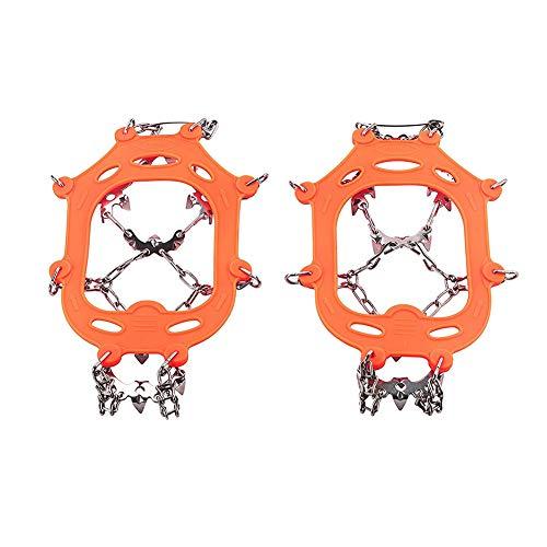 YUnnuopromi 1 Paar 13 Zähne Eisschnee Griffe Crampon Winter Wandern Kletterschuhe Cleats Kette Orange M