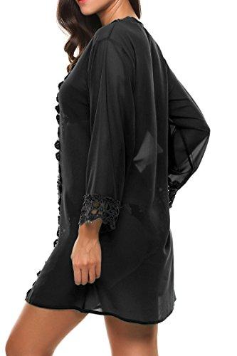 Avidlove Donna Bikini Cover Up Costumi Da Bagno Abito da Mare Copricostume Spiaggia Scollato Chiffon Casual Vestiti Nero
