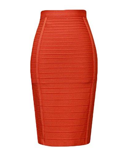 Whoinshop Women's Stretchy Slim Fit Midi Pencil Skirt with Zipper Orange S