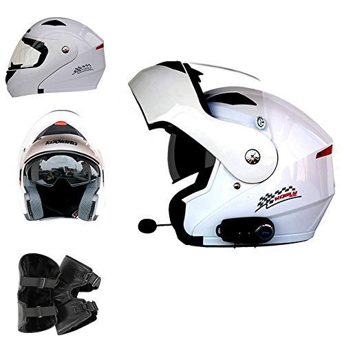 Casco modulare Moto Casco Bluetooth Bluetooth + FM D.O.T Certificazione Casco Moto Fuoristrada Motocross ATV Dirt Bike,White,L