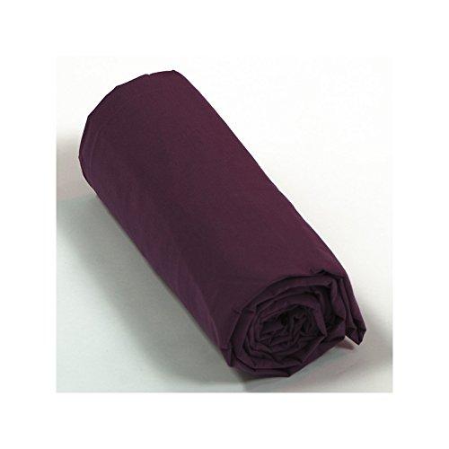 Drap House Percale 160x200 Bonnet 40 cm - Couleur: Prune