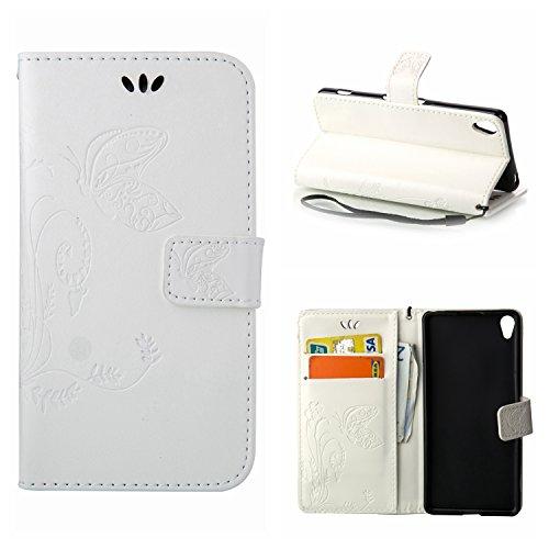 MOONCASE Xperia X Hülle, Schmetterling Tasche Pu Leder Klappetui Bookstyle Schutzhülle für Sony Xperia X Handyhülle Magnetisch [Card Slot] TPU Case mit Standfunktion und Wrist Strap Weiß