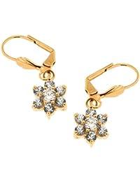 Boucles d'oreilles pendantes  Femme - Plaqué or Oxyde de Zirconium - 82488