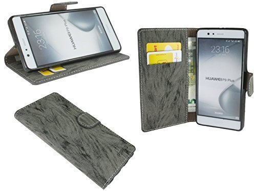 Huawei P9 PLUS // Buchtasche Hülle Case Tasche Wallet BookStyle mit STANDFUNKTION in Anthrazit @ Energmix