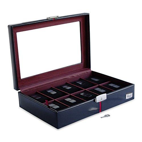 Cordays - Présentoir/Boîte/Coffret à Montre Deluxe pour 10 Montres. Fait Main en Cuir avec Vitrine en Cristal et Serrure. Boîte de Collectionneur\
