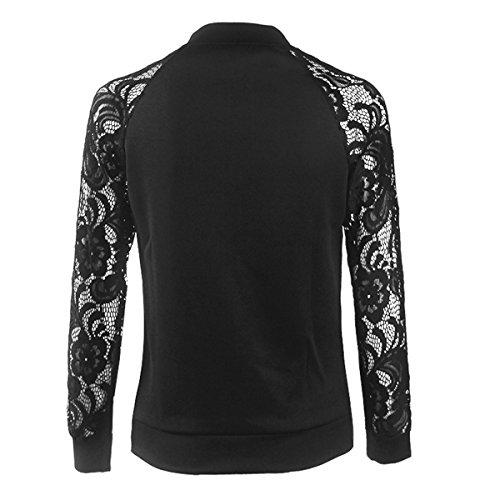 YPtong Pizzo Cappotto Top Felpe Maniche Lunghe Jacket Zip Giacca Tinta Unita Eleganti Felpa Uncinetto Donna Giacche Nero
