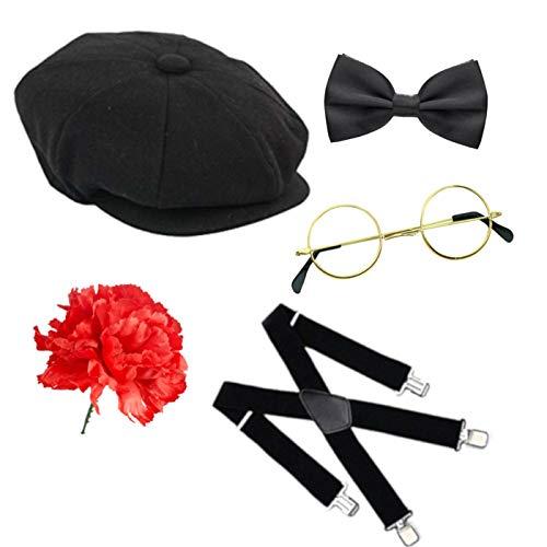 Kostüm Blind Brille - Seemeinthat Peaky Blinders Motto Newsboy Cap Free Nelke Mobster Mobster Boss Sieht aus wie Baker Boy Flache Kappe Hosenträger Krawatte Brille Kostüm Zubehör