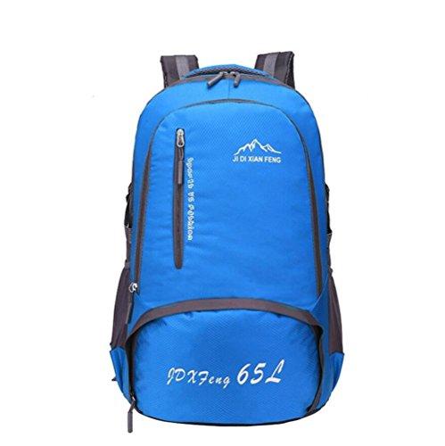 65L impermeabile esterna di grande capienza maschile alpinismo pacchetto femminile borsa da viaggio a tracolla sportiva zaino Studente , green Blue