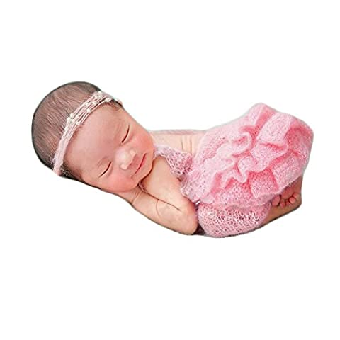 Newborn Girl Photography Props Baby Crochet Outfits Photoshoot Clothes Handmade knitted Costume Headdress