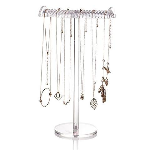 Choice Fun acrylique t-bar grand organisateur de bijoux en plastique collier en caoutchouc transparent