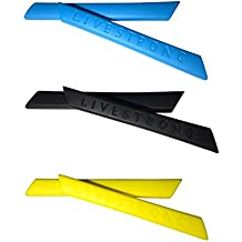 HKUCO Blue/Black/Yellow Replacement Silicone Leg Set For Oakley Racing Jacket Sunglasses Earsocks Rubber Kit