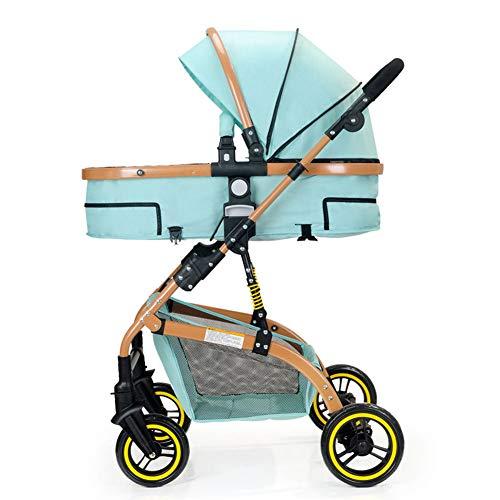 SHOWGG Kinderwagen, kompakt, leicht, kann in Einem liegenden Reise-System modularen Kinderwagen, urban high Landschaft Luxus Falten stoßfest Kinderwagen 41,5 * 34,5 * 25,5 Zoll sitzen,Blue