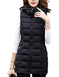 b0adaf89be0d66 Huatime Winter Daunen Weste Mantel Damen - Mode Long Mit Abnehmbarer Kapuze  Baumwolle Gefüttert Weste Ärmellos
