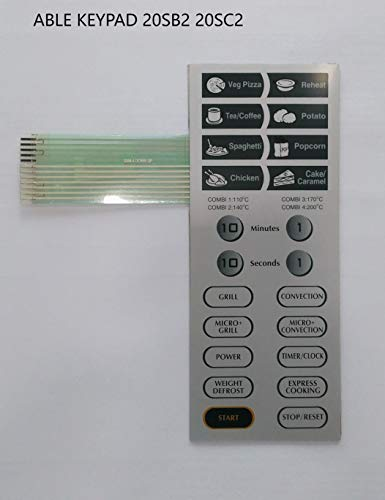 Able 20SB2 20SC2 Microwave Oven Membrane Keypad (Silver)