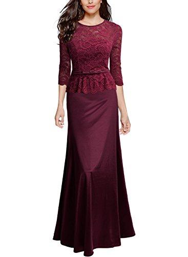 (Miusol Elegant Damen Abendkleid 3/4 Arm Spitzen Kleid Brautjungfer Langes Cocktailkleid Weinrot Gr.3XL)