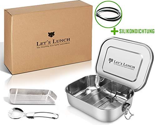 Let´s Lunch® Umweltfreundliche Auslaufsichere Premium Edelstahl Brotdose mit verstellbaren Fächern+Besteck (1400ml) Das Lunchbox-Original ist Zertifiziert&100{8b46d21e2dcf1cd7a40417945d7fe614b648dd3e0ecc69075f8ab0a17e14eb3a} DICHT - Bentobox für Kinder&Erwachsene
