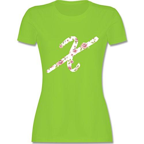 Anfangsbuchstaben - X Rosen - tailliertes Premium T-Shirt mit Rundhalsausschnitt für Damen Hellgrün