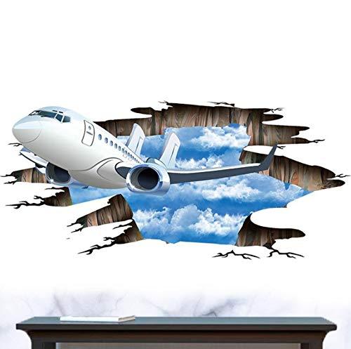 3D Flugzeuge Gebrochen Wand Boden Aufkleber Wasserdicht Blauen Himmel Weiße Wolken Wandaufkleber Für Bad Kinderzimmer Wohnkultur Kunstwand 90X60 Cm - Weiss Vinyl Jalousie
