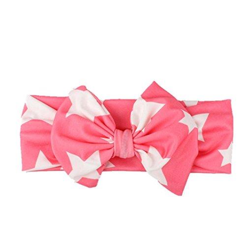 kingko® Kinder Baby Mädchen Kopf Zubehör Stirnband Baby Elastische Bowknot Headwear Heißes Rosa