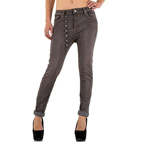 Used Look Hüft Boyfriend Skinny Jeans Für Damen Braun KL-J-C716-F13