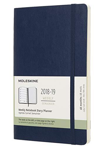Moleskine 2018 - 2019 Agenda Settimanale 18 Mesi, con Spazio per Note, Large, Copertina Morbida, Blu Zaffiro