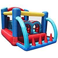 Duplay Racing Fun Obstacle Course Bouncy Castle With Double Slides, Bounce Area and Obstacles - Fun in 1 box