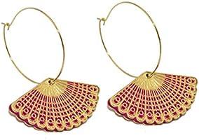 Boucles d 'oreilles créoles colorées éventail -Doré à l 'or fin