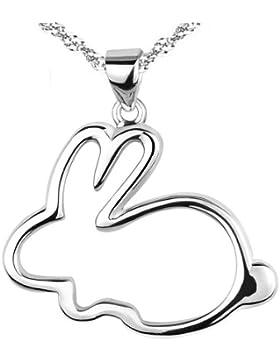 Chaomingzhen rhodiniert 925 Sterling Silber Häschen Kaninchen Anhänger Halsketten Damen Kette