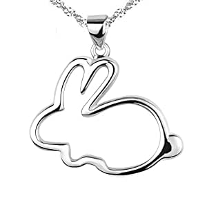 Chaomingzhen 925 Sterling Silver Rhodium Plated Bunny Pendants Necklaces Women Chain