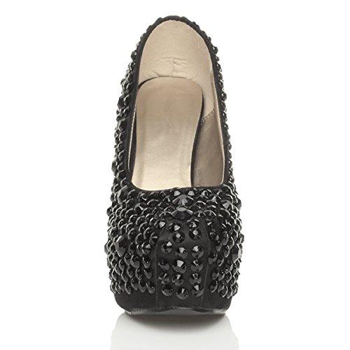 Donna tacco alto scarpe piattaforma gemma matrimonio festa décolleté taglia Nero / nero