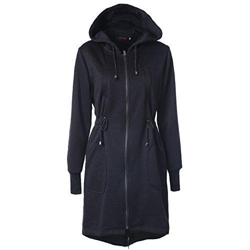 Yying Abrigo Largo Sweatshirt Capa - Chaqueta Larga Otoño Invierno Outfit Cremallera Outerwear Capucha Negro Azul Café Caqui Gris S-2XL