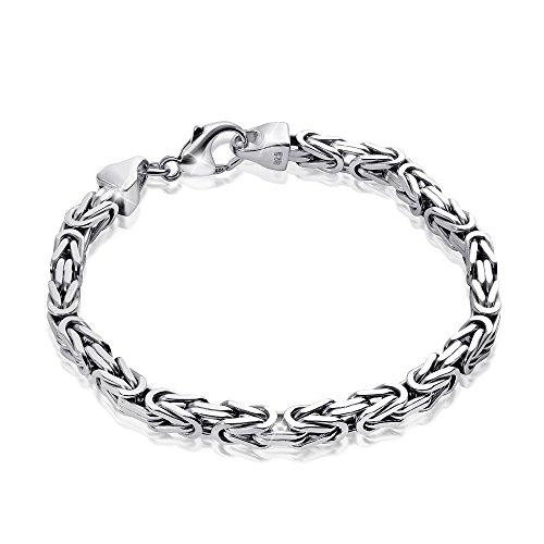 MATERIA Königskette Silber Herren Armband 5,4mm 31,5g diamantiert rhodiniert in 21 22 23cm #SA-10, Länge:21 cm