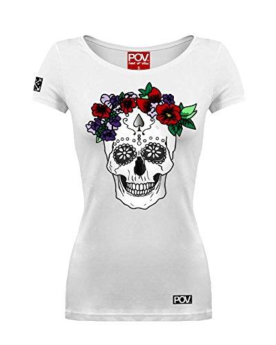 Damen T-Shirt Calavera Dia De Los Muertos Skull Mexikanischer Totenkopf (Weiß, XL)