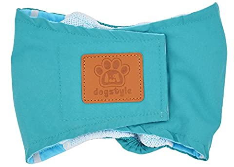 Yuno Male Dog Chastity Pants with Courtesy Cotton Quality Anti-harassment Cute Pet Dogs Menstrual Physiological Pants New Practical Puppy Clothes Underwear Light Blue