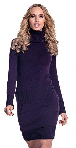 Glamour Empire. Damen Strickkleid Minikleid mit Stehkragen und Tasche vorne. 178 (Lila, EU 36/38, ONE SIZE)