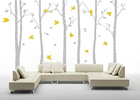 Yanqiao 6 Pappel Bäume Riesige Wälder Hintergrund Aufkleber für Wohnzimmer Wanddekoration Entfernbare Vinyl Abziehbild Kunst Zuhause Dekorieren Größe