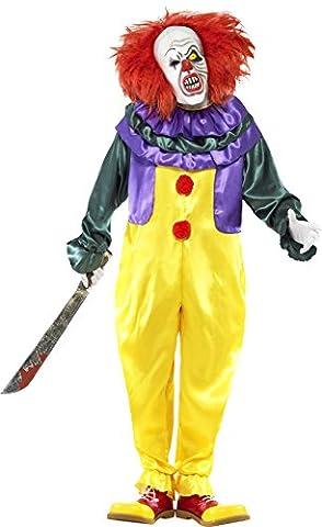 Smiffys, Herren Horror Clown Kostüm, Jumpsuit und Maske, Größe: L, 24376 (Erwachsen Netzstrumpfhose)