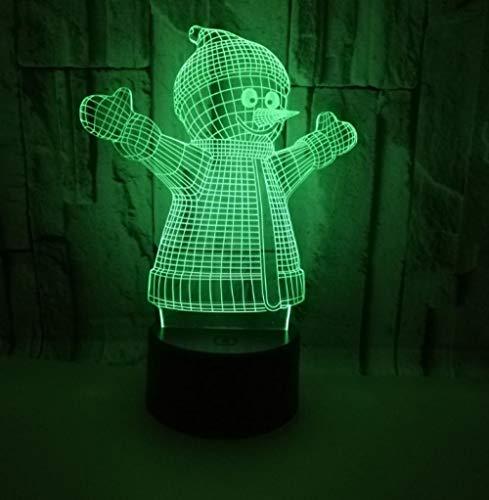3D Illusion Lampe LED Nachtlicht Schneemann Form Tischleuchte 3 AA Batterien oder USB-Kabel Powered Schöne Acryl Material Panel ABS Basis für Tischdekoration und Nacht Dekoration - Nacht Licht Tisch Lampe Basis