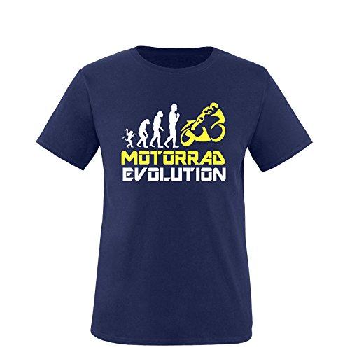 EZYshirt® Motorrad Evolution Herren Rundhals T-Shirt Navy/Weiss/Gelb