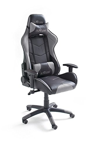 MC Racing 6, Gamingstuhl, Bürostuhl, Schreibtischstuhl, inklusiv Kissen, schwarz/grau, 69 x 125-135 x 58 cm, 62496SG3