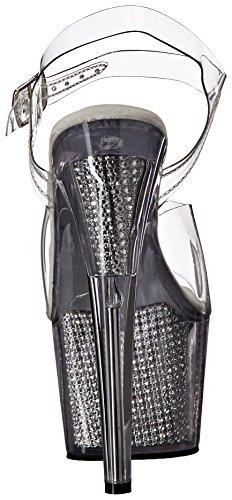 Pleaser Adore-708srs, Semelle Compensée Femme Transparent (Clr/Slv SRS)