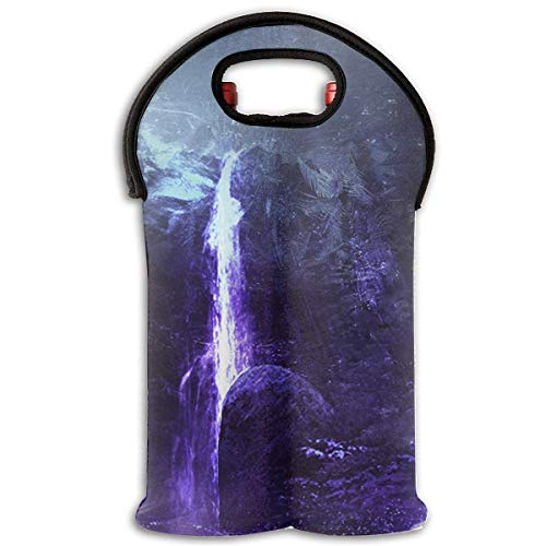 Deer Night Fantasy Waterfall 2 Bottle Wine Carrier Wine Tote Carrier Bag/Purse for Champagne, Wine, Water Bottles,Wine Bottle Carrier.