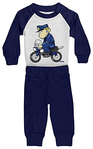 HARIZ Baby Pyjama Polizist Lustig Motorrad Polizei Cops Inkl. Geschenk Karte Weiß/Navy Blau 36-48 Monate