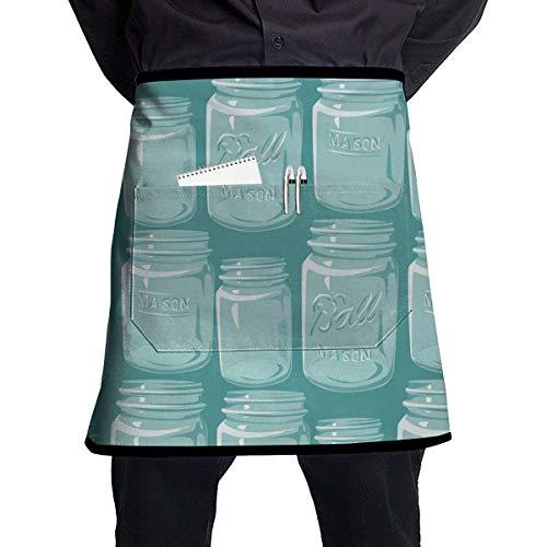 Soft Durable 100% Polyester Waterproof Kitchen Bib Apron Pockets Waist Apron Kitchen Cooking Restaurant Bistro Half Aprons for Men Woman - Mason Jars Mason Jar Restaurant