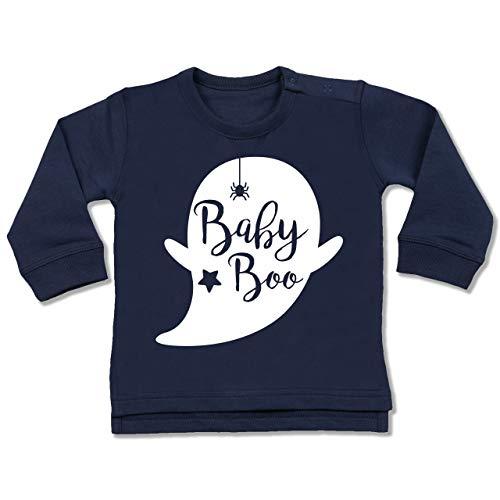 Shirtracer Anlässe Baby - Baby Boo Halloween Gespenst - 12-18 Monate - Navy Blau - BZ31 - Baby Pullover