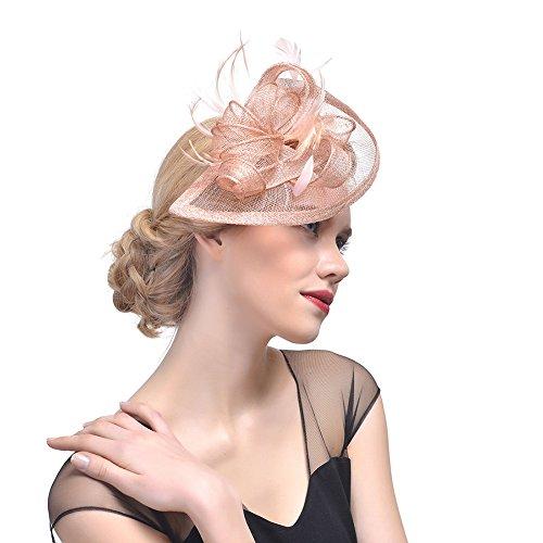 iKulilky Braut Fascinator Blumen Netz Kopfschmuck Damen Haar Clip Britischer Bowler Hut Feder Haarschmuck Kopfbedeckung für Party Kirche Hochzeit - Bowler Hut Frauen Kostüm